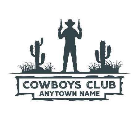 cowboy gunslinger standing in the middle of cactus field vector graphic design template
