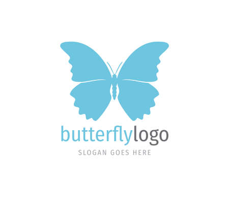 simple blue beautiful butterfly vector logo design template open wings from top view