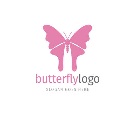 simple pink beautiful butterfly vector logo design template open wings from top view Ilustrace