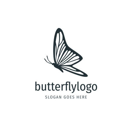 beautiful butterfly vector logo design template with majestic detail feature on the wings in side view