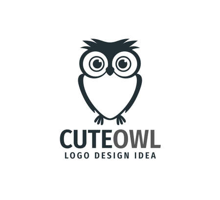 cute owl chick with big eyes vector logo design template