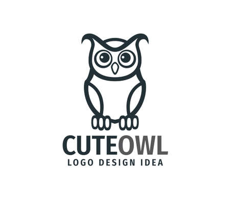 cute owl chick with big eyes vector logo design template  イラスト・ベクター素材