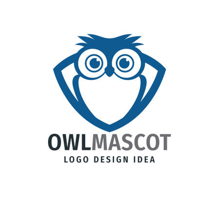 cute owl chick mascot inside frame with big eyes vector logo design template