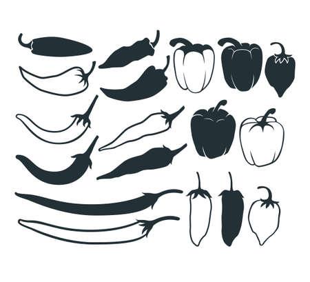 assorted chilli pepper vector graphic design illustration template Ilustração