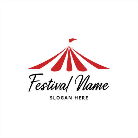 simple flat circus tent graphic design for festival or even or show or exhibition vector logo template