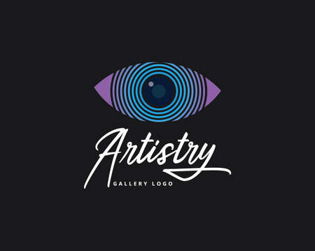 artistic abstract eye pupil for artist or photography business vector logo design template in white background