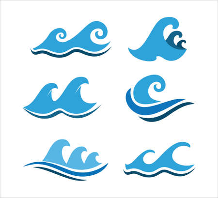 ocean water wave swirl vector logo design set template for sailing tour and travel business