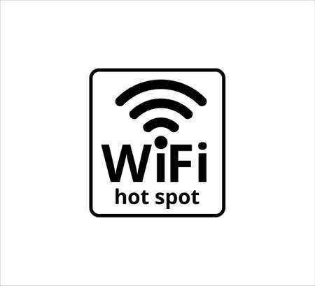 wifi hot spot area icon, sign or symbol vector design template in simple flat and style