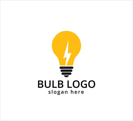 light bulb symbol, icon or logo of electric innovation, idea and inspiration vector graphic design template Çizim