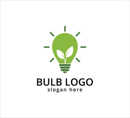 light bulb symbol, icon or logo of go green and agricultural innovation, idea and inspiration vector graphic design template