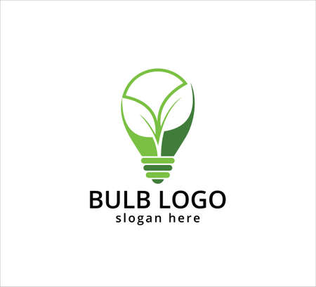 light bulb symbol, icon or logo of go green and agricultural innovation, idea and inspiration vector graphic design template Çizim