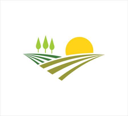 terres agricoles abstraites ou cultures vivrières à l'intérieur d'un cercle avec modèle de conception de logo d'icône vectorielle feuille pour l'agriculture, les cultures vivrières, les pépinières hydroponiques et les entreprises agricoles Logo