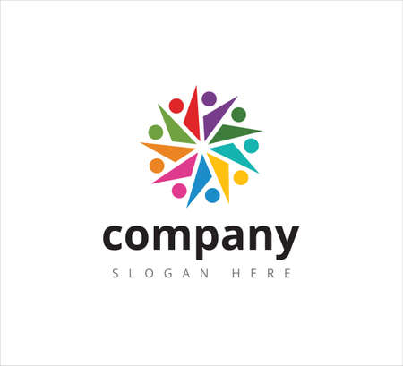 together, teamwork, strategy, partnership, cooperation meeting vector icon logo design template for community and education business concept