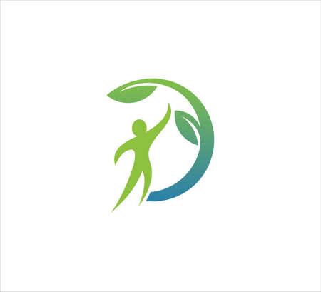 forme humaine abstraite avec modèle de conception de logo d'icône de vecteur de feuille pour le bien-être, les aliments biologiques verts, la phytothérapie et l'entreprise de traitement de beauté naturelle Logo