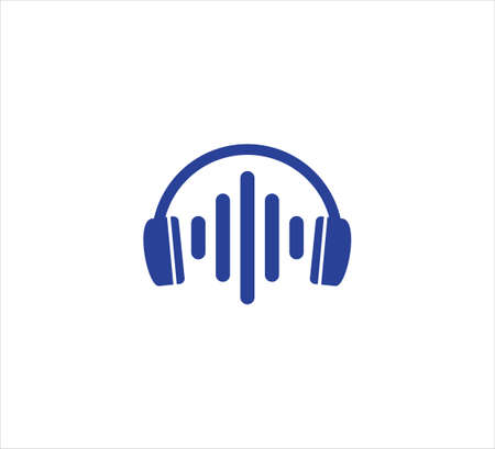 headset music with simple sound wave virtualization in the middle vector icon logo design template for podcast, channel, application and digital sound streaming provider industry Illustration