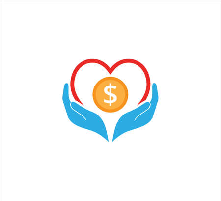 giving present hand gesture with hear and coin vector icon logo design template for charity, donation, fundraising humanity event dan non profit company Logos