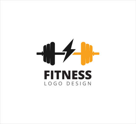 fitness and gymnastic barbell weightlifting sport vector icon logo design template