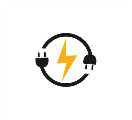 electric plugin in circle loop with electric symbol vector icon logo design template for renewable electric power source