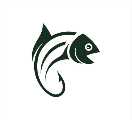 fishing outdoor sport, fish and hook vector icon logo design template