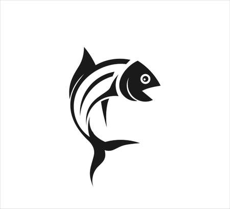 fishing outdoor sport, fish and hook vector icon logo design template Ilustração