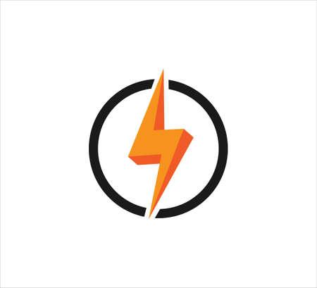 3d electric bolt spark inside circle vector icon logo design template