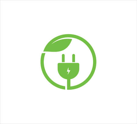 green electric plugin inside circle with leaf vector icon logo design template for high efficiency electric friendly natural power source Иллюстрация