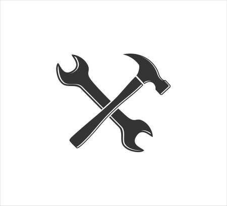 crossed hammer and wrench vector icon logo design template for machinery hardware and repair service business