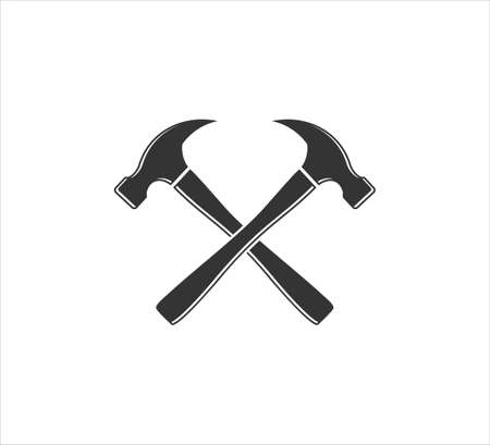 crossed hammer vector icon logo design template for machinery hardware and repair service business