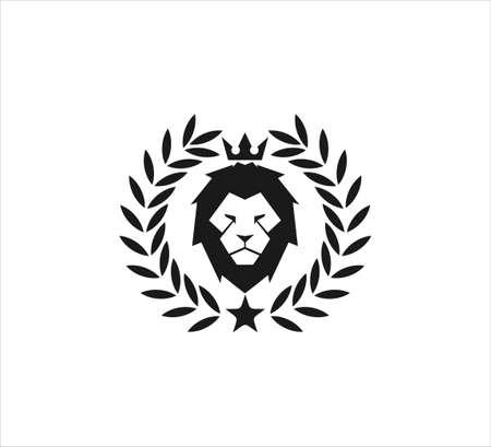majestic lion head wearing crown inside wheat ear vector icon logo design template symbol of luxury, strength, royal kingdom and dominance Ilustração