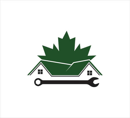 roof and wall house repair call service vector icon logo design template