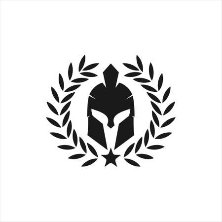 spartan helmet warrior inside wheat ear vector icon logo design template for gym, tattoo, and gaming application