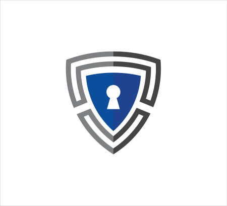 blue triangle shield with key hole vector icon logo design template for security application, software protection and privacy guard 일러스트