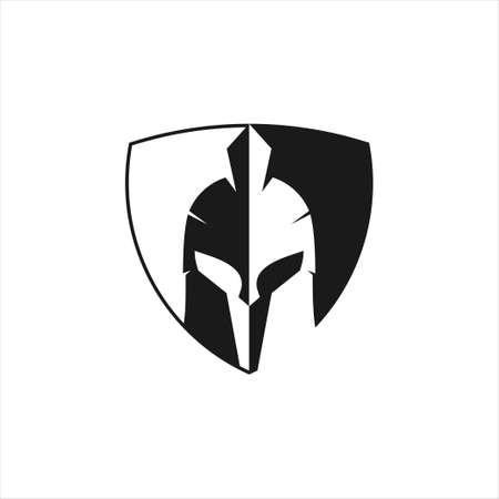 black spartan helmet warrior inside a shield vector icon logo design template for gym, tattoo, and gaming application Ilustração