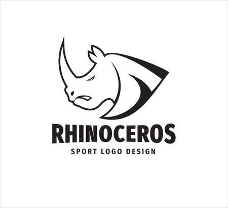 iconic rhinoceros head mascot vector design template for sport event, football team and gym house logo Ilustração