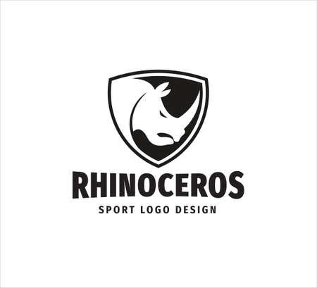 iconic rhinoceros head mascot inside shield vector design template for sport event, football team and gym house logo Ilustração