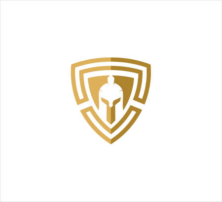 golden triangle shield with spartan helmet vector icon logo design template for security application, software protection and privacy guard 일러스트