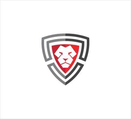 triangle shield with lion face mascot in the middle vector icon logo design template for security application, software protection and privacy guard Ilustração