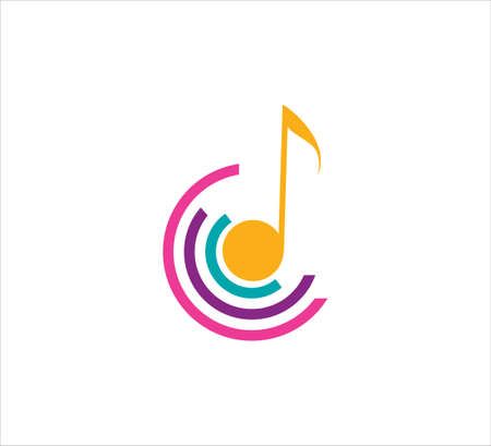 simple flat style music note vector icon logo design template for podcast, music streaming and learning logo