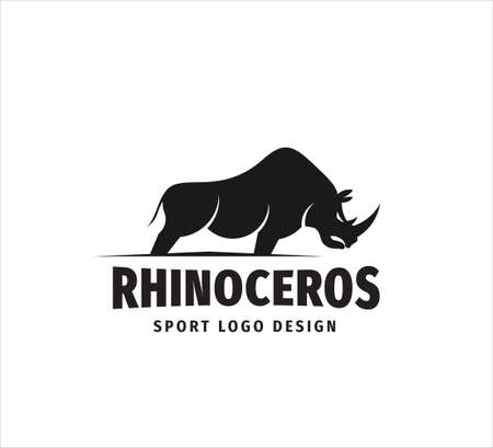 standing iconic rhinoceros mascot vector design template for sport event, football team and gym house logo