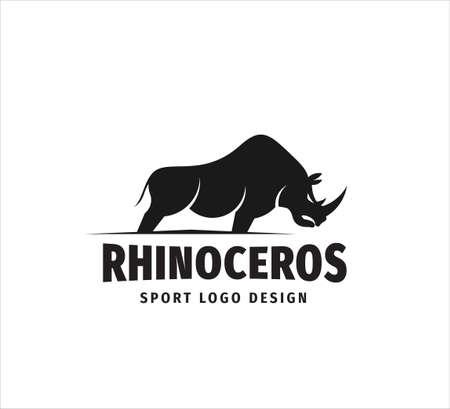 stehende ikonische Nashorn-Maskottchen-Vektor-Design-Vorlage für Sportveranstaltung, Fußballmannschaft und Fitnessstudio-Logo Logo