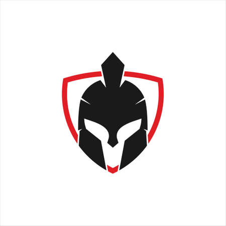 spartan helmet warrior inside triangle shield vector icon logo design template for gym, tattoo, and gaming application