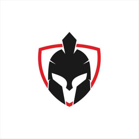 spartan helmet warrior inside triangle shield vector icon logo design template for gym, tattoo, and gaming application Ilustração
