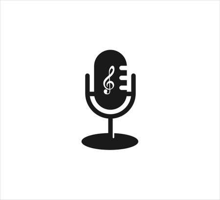 classic desk stand microphone vector icon logo design template for podcast and music streaming