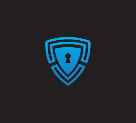 blue triangle shield with key hole vector icon logo design template for security application, software protection and privacy guard Ilustração