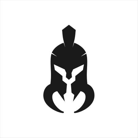 black spartan helmet warrior with offensive tusk vector icon logo design template for gym, tattoo, and gaming application