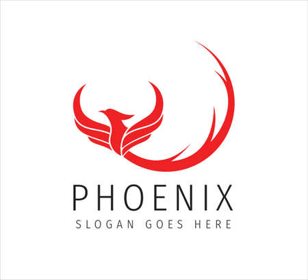 red fiery flame open wing phoenix with long curly tail vector icon logo design symbol of freedom, mystic and glory