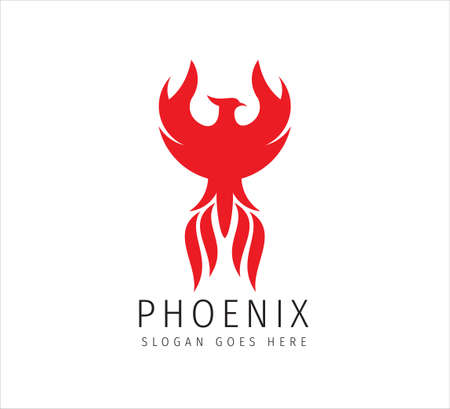 red fiery flame open wing phoenix vector icon logo design symbol of freedom, mystic and glory