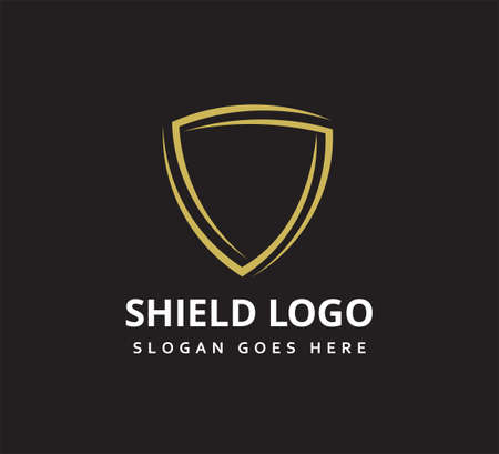 simple loop triangle shield vector icon logo design template for security application, software protection and privacy guard Ilustração