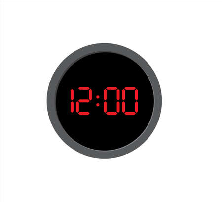 round digital clock showing time at twelve o'clock vector icon design template