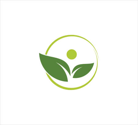 a pair of leaf with abstract head inside a circle vector icon design template for wellness treatment, yoga beauty center, and green organic dietary logo